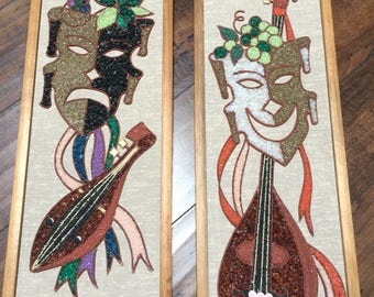 Beautiful Mid Century Modern Stone Art Wall Hanging Jesters/Jokers