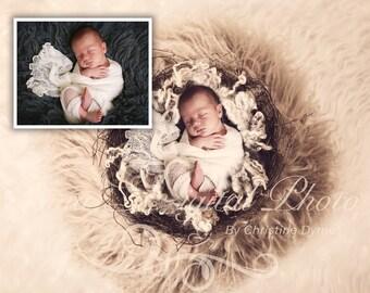 Digital Newborn Photography studio ( Vintage Nest With Wool ) high resolution digital file