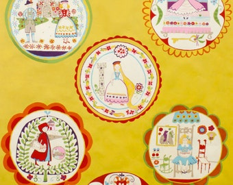 Fairytale 100% Cotton Fabric in Yellow by Alexander Henry - Rapunzel, Hansel and Gretal, Princess and the Pea, Red Riding Hood