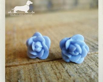 DOLLAR DEAL! Pale Blue. Rosebud Post Earrings -- (Vintage-Style, Baby Blue, Flower Earrings, Bridal Jewelry, Romantic, Feminine, Under 5)