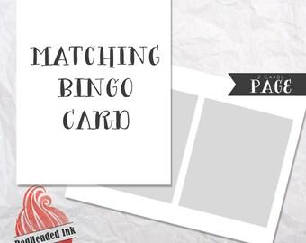 Matching Baby Shower Bingo Card