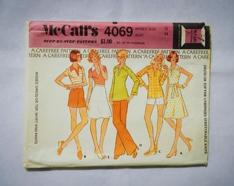 McCall's Sewing Pattern 4069 Misses' Dress or Top, Skirt and Pants Vintage 1974 Size 12