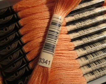 Apricot #3341, DMC Cotton Embroidery Floss - 8m Skeins - Available in Single Skeins, Larger Pkgs & Full (12 skein) Boxes