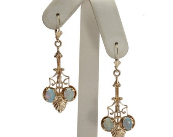 14kt yellow gold opal dangle earrings art deco style
