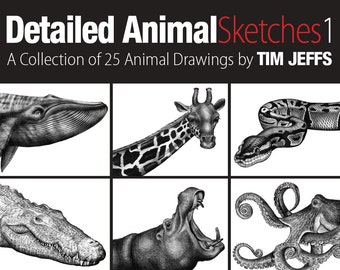 Detailed Animal Sketches 1. A Coloring Collection by Tim Jeffs