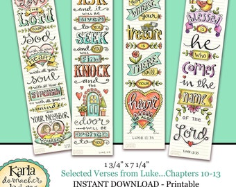 Luke 10-13 BIBLE BOOKMARKS Art Journaling Illustrated Faith Instant Download Scripture Digital Printable Christian Religious