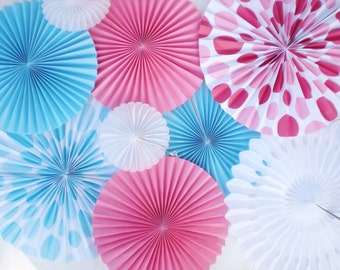 Gender reveal party photo backdrop, pink blue polka dot paper rosettes, pinwheels, for showers, birthday, etc