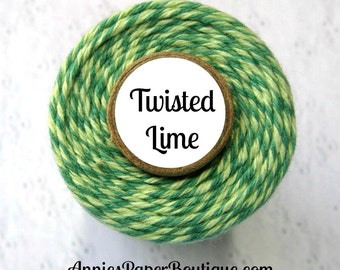 Light Green & Dark Green Bakers Twine - Twisted Lime Trendy Twine - Christmas, Holiday, Gift Wrap, Packaging, Treats, Favors, Baking