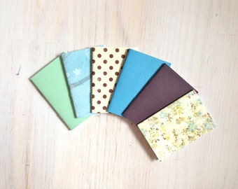 Notebooks: 6 Tiny Journal Set, Blue, Green, Wedding, Favors, Small Notebooks, For Her, For Him, Gift, Unique, Mini Journals, Party, T012