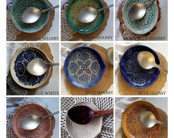 rustic ceramic, spoon rest dish, trinket dish, kitchen holder, ceramic plate, spoon holder, kitchen decor, ceramic holder, decorative plate