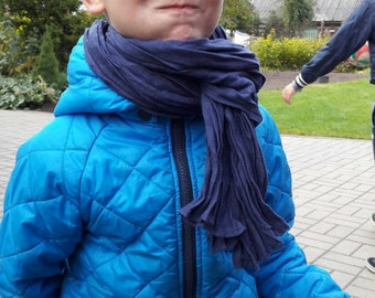 Stylish dark blue linen scarf for kids