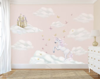 Unicorn Decals, unicorn wall decals, Unicorn Wall Stickers, Fairytale Decals, Unicorn Mural, unicorn wall mural, cloud decals, girls decals