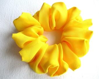 egg yellow silk scrunchie for long hair, wedding bridal accessory for women girl, handmade gift for her, large ponytail holder, 80s 90s