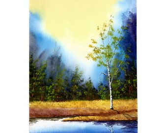 Birch tree Landscape Painting watercolor  Print Lake water reflections Giclee Reproduction Select MANY SIZES