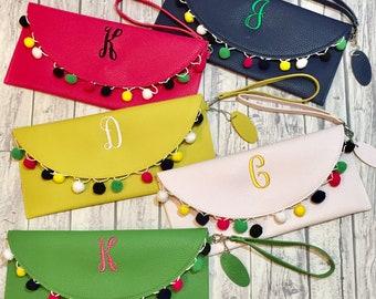 Pom Pom Clutch, pom pom purse, pompom clutch, pompom purse, clutch purse, monogram clutch, monogram purse, monogram pom pom clutch, clutch