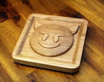 """Wooden Smiling Devil Imp Emoji (5.0"""")"""