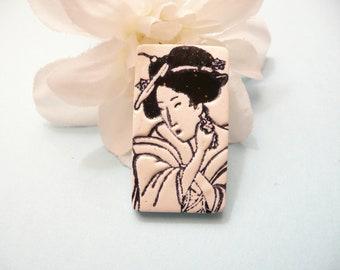 Oriental Face Pin, Geisha Brooch, Japanese Art Jewelry, Coat Pin, Black and White, handmade polymer clay