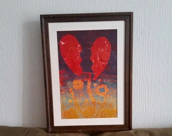Original Abstracted Heart Monotype Print Artwork