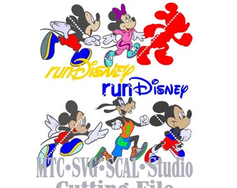 RUNDisney Marathon Mouse Running MTC SVG Cut File