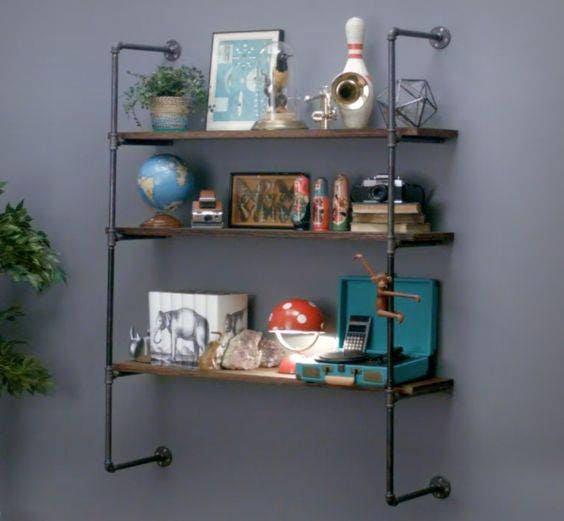 Pipe Shelving System, Open Shelving Wall Unit, Parts Kit DIY, Easy ...