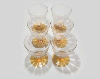 6 Beautiful Vintage Amber Glassware -Vintage UK Treasures