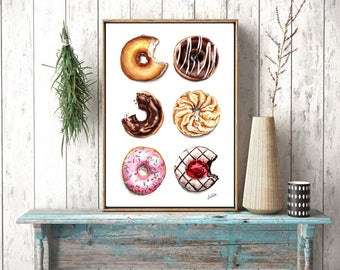 Dessert art print, 6 donuts print of watercolor painting,