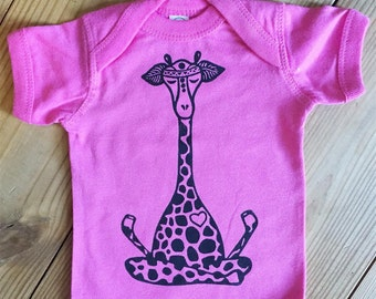 Baby girl outfit, Giraffe baby outfit,Pink onepiece, Lotus giraffe onepiece, Bohemian baby, Yoga baby outfit, Boho baby girl gift