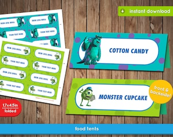Monsters Inc Food Tent - Printable Food Label Tent, decoration, favors - Text Editable - INSTANT DOWNLOAD