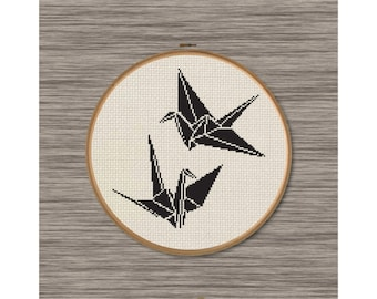 2 Paper Cranes - PDF Cross Stitch Pattern