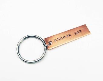 Choose Joy Keychain - Inspirational Gift for Positive Outlook or Affirmation - Stamped Aluminum Key Ring