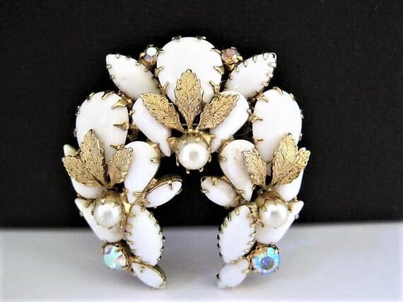 Milk Glass Brooch, AB Rhinestone Enhanced, Faux Pearls,  Vintage Floral Glass, Gold Tone Mesh Leaves