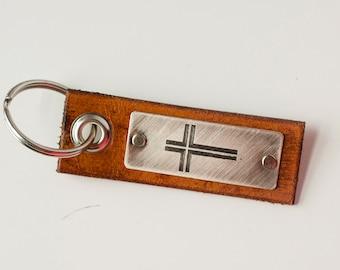 Cross Christian Custom Leather Keychain Scripture