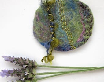 Embroidered Pin - Original Textile Art  - Scarf Pin - Abstract Design Jewelry - Wanderings