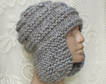 Gray marble tweed ear flap hat, trapper cap, gray hat, beanie hat, winter hat, mens womens knit hat, toque, ski snowboard skateboard, hiking