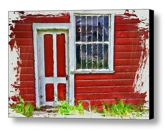 Canvas Giclee Wrap - Little Red House fine art print, mixed media painting, wall decor with country flair