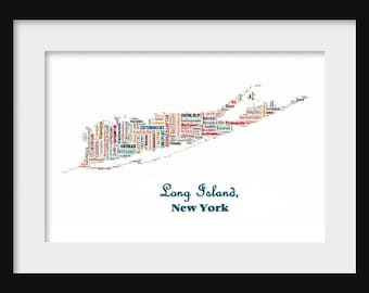 Long Island New York Map Topographic Map Topographic Color Map Poster Print