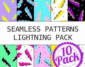 Printable Seamless Patterns - 90s Lightning Pack - Digital Scrapbook Paper