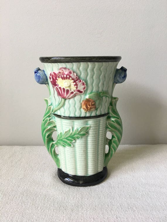 Green Antique Flower Vase Made In Japan Has Makers Mark On