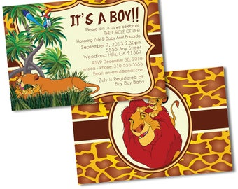 Lion King Baby Shower Invitations, Custom Baby Shower Invitations