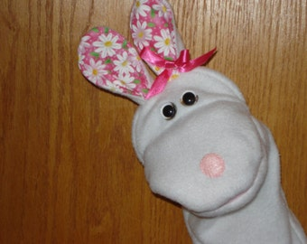 Rabbit Bunny hand puppet moveable mouth  daisy ears