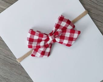 red checkered bow, red fabric bow, red checkered sailor bow, fabric bow