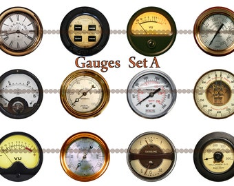 Steampunk gauge magnets, pins or flatbacks, 1 inch or 2.25 inch available, steampunk wedding, vintage meters, industrial meters, Set A
