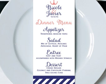 Wedding Menus, Printed Menus, Menu Cards, Dinner Menus, Wedding Reception Menus, Wedding Decor, Beach Wedding Menus, Napkin Menu Inserts