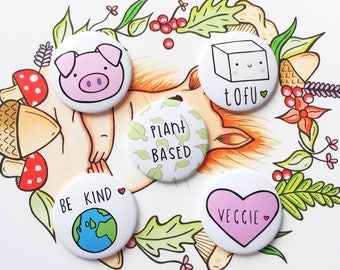Veggie or Vegan Magnet Gift Pack Cute Home Decor Kitchen Gift Vegan Gift Animal Lover Tofu Plant Based