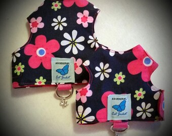 "Escape proof Navy with Pink flowers ""Butterfly Cat Jackets"" walking harness, jacket, holster, vest"