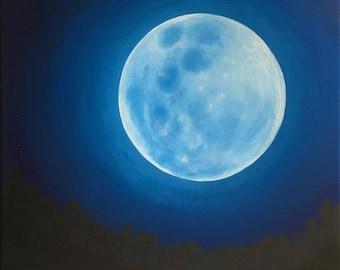 Blue Moon Painting, Celestial Art, Glowing Moon Wall Art, Bright Moon, Night Sky, Lunar Painting, Goddess, Full Moon, Beautiful Moon, Bright