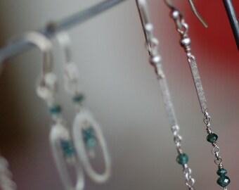 Blue Diamond Earrings - Sterling Silver