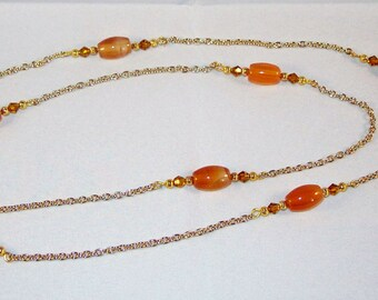 Golden Agate and Swarovski Crystal Necklace