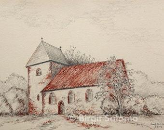Village Zechlin, church, building, fine-type print 20x30 cm, poster 30x40 cm, fine-type print 29, 7x42 cm, original pencil & red chalk 23x31 cm