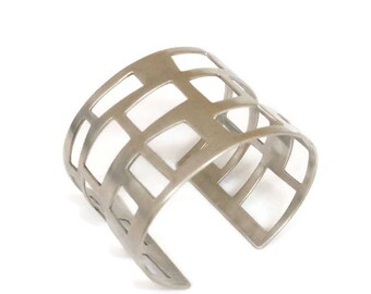 Sterling Silver Wide, Cuff Architectural Bracelet , Mid Centurey Modern, Statement Cuff,   City Lights  Artisan Handmade  by Sheri Beryl